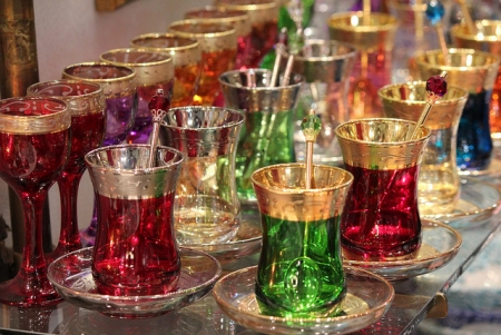Turkish colored cups in Grand Bazaar