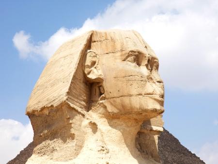 Close Up of Sphinx Statue at Giza Pyramids