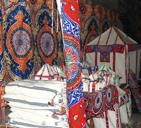 Etoffe égyptienne traditionnelle, Marché des Tisserands, Khayameya