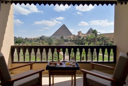 Pyramids View from Mena House Hotel