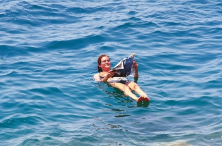 Floating in the Dead Sea Salty Water