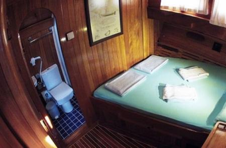 Inside the Cabin of Gulet Cruise, Turkey