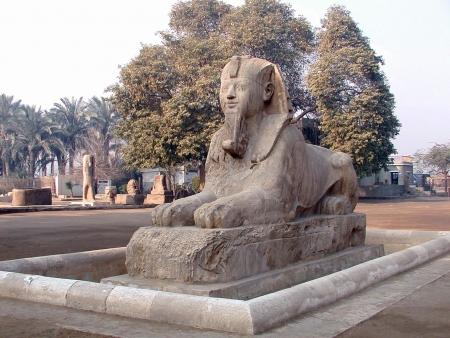 La esfinge de alabastro fuera del museo de Ptah