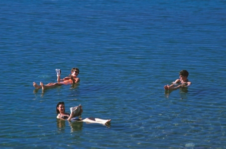 Floating on the Dead Sea Salty Water