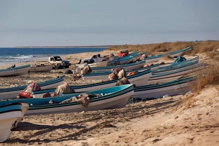Beach Fishing Boats in Salalah