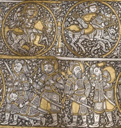 Basin art Showing Mamluk Warriors Scene