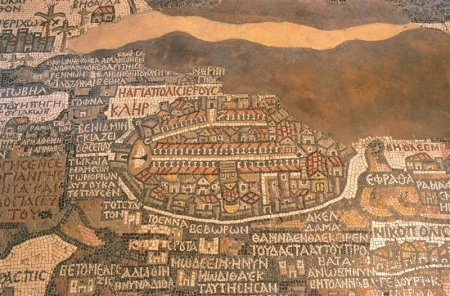 Ancient mosaic map inside St. George Church in Madaba