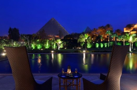 Pyramids View By Night from Mena House Hotel