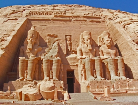 Huge Group Statues of Ramesses II Temple at Abu Simbel