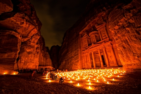 The Treasury in Petra By Night