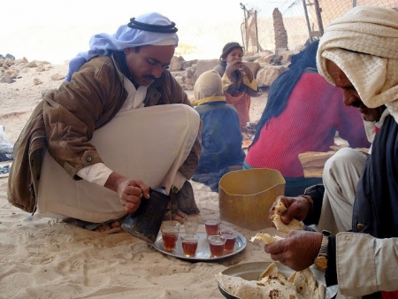 Enjoying Bedouin Tea in Sinai Safari Adventure