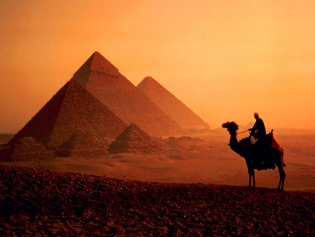 The Great Pyramids By Sunset