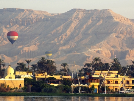 View of Luxor City and Hot Air Balloon