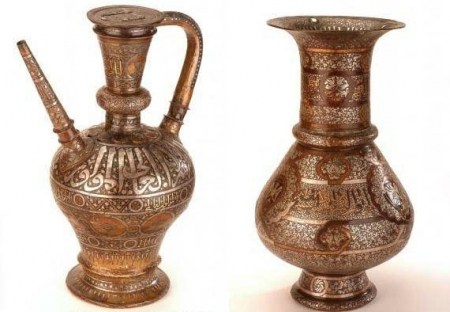 Copper Ewer and Brass Vase from the Mamluk Period