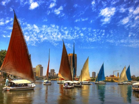 Felucca Sailing on the Nile of Cairo