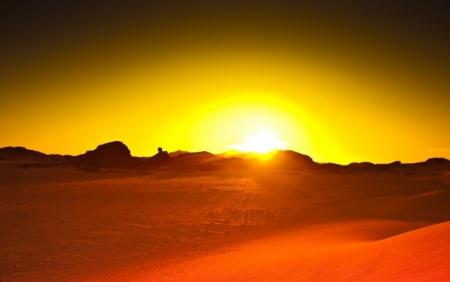 ドバイサハラ砂漠にてサンセット
