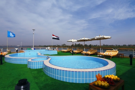 Relaxing Pool on the sun deck of the Nile Cruise