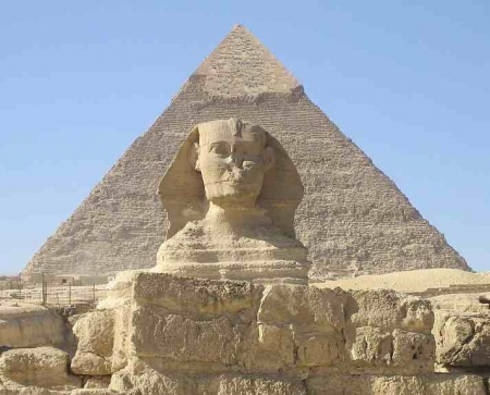 Chefren Pyramid Behind The Great Sphinx