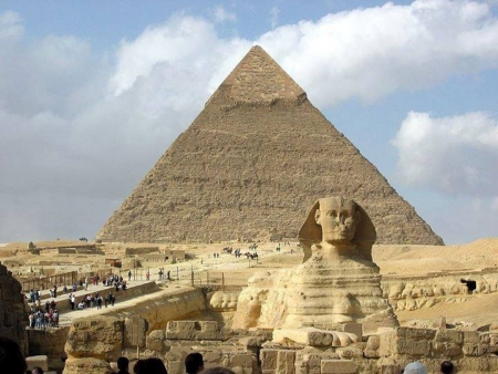 Sphinx and great Pyramid, Giza