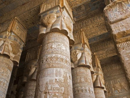 Pillars of the Great Hypostyle Hall, Dendera Temple