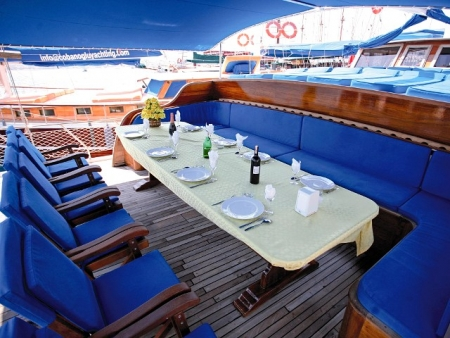 Dining Area on The Gulet Cruise
