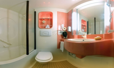Private bath with bathtub and hairdryer