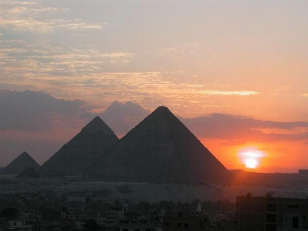 The Sunset at Pyramids of Giza