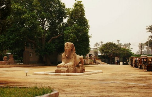 The alabaster sphinx found outside the Temple of Ptah.