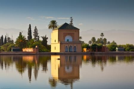 Jardim Menara em Marrakech, Marrocos
