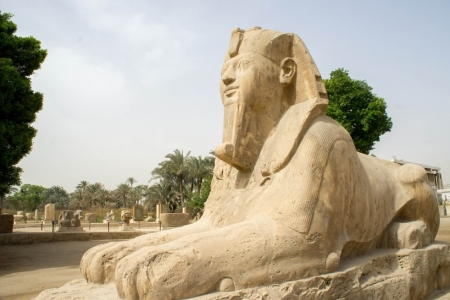 Alabaster sphinx , Memphis Necropolis in Egypt