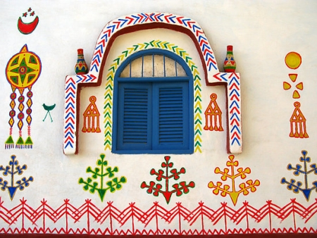 Some Colourful Drawings on a Nubian Village, Aswan